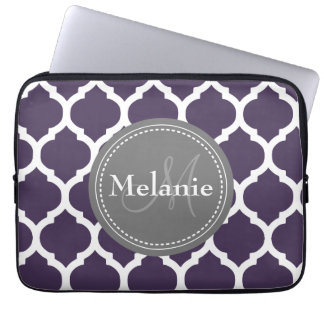 Monogrammed Purple & Grey Quatrefoil Laptop Sleeve