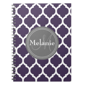 Monogrammed Purple & Grey Quatrefoil Notebook