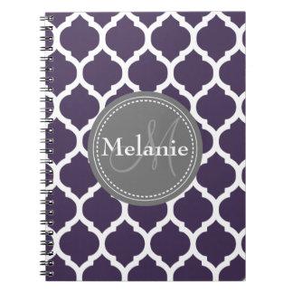 Monogrammed Purple & Grey Quatrefoil Spiral Notebooks