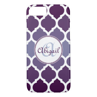 Monogrammed Purple Ombre Moroccan Lattice Pattern iPhone 8/7 Case