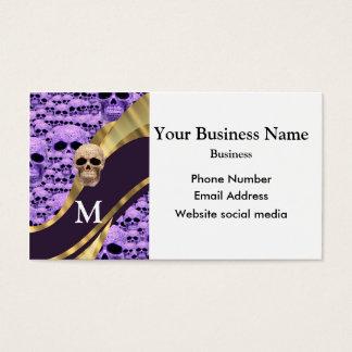 Monogrammed purple skull gothic pattern business card