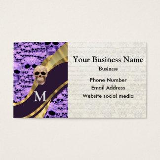 Monogrammed purple skull pattern business card