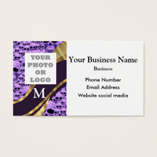 Monogrammed purple skull pattern company logo business card
