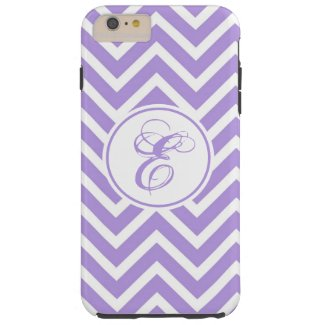 Monogrammed Purple & White Chevron Zigzag Pattern Case-Mate iPhone Case