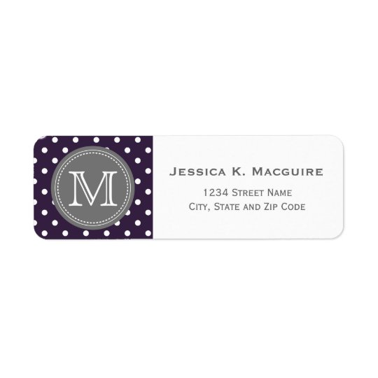 Monogrammed Purple White Polka Dot Pattern