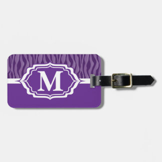 Monogrammed Purple Zebra Stripe Tag Tags For Luggage