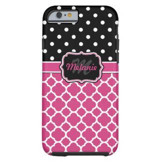 Monogrammed Quatrefoil Lattice Polka Dot Tough iPhone 6 Case