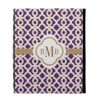 Monogrammed Quatrefoil Purple and Gold Moroccan iPad Folio Covers