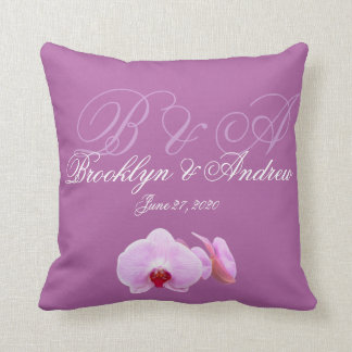 Monogrammed Radiant Orchid Wedding Pillows
