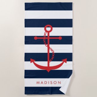 Monogrammed Red Anchor on Navy Stripes Beach Towel