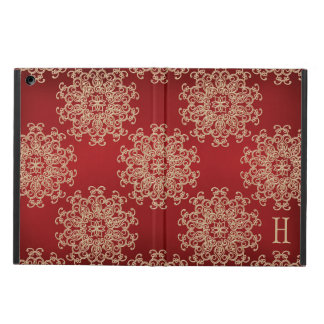 MONOGRAMMED RED AND GOLD INSIAN INSPIRED PATTERN iPad AIR COVERS