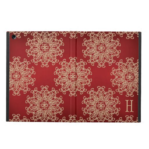 MONOGRAMMED RED AND GOLD INSIAN INSPIRED PATTERN CASE FOR iPad AIR