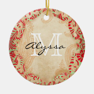 Monogrammed Red and Green Christmas Ornament