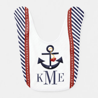 MONOGRAMMED RED AND NAVY ANCHOR HEART BIB