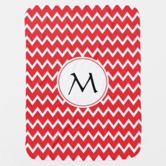 Monogrammed Red and White Chevron Pattern Baby Blanket