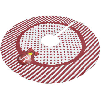 Monogrammed Red and White Christmas Tree Skirt Brushed Polyester Tree Skirt