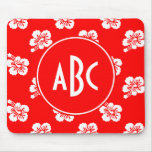 Monogrammed Red and White Hawaiian Pattern Mouse Pad