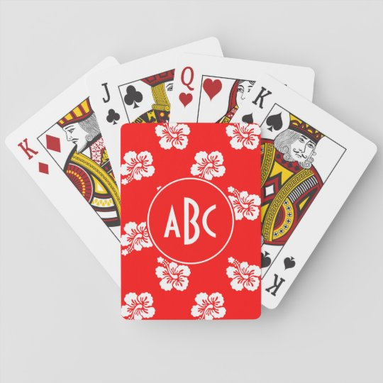 Monogrammed Red and White Hawaiian Pattern Poker Deck