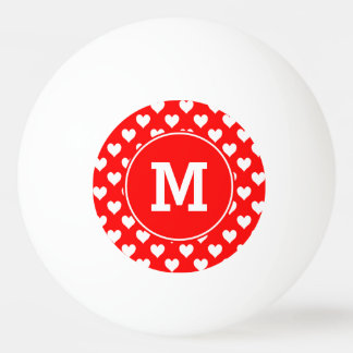 Monogrammed Red and White Heart Pattern Ping Pong Ball