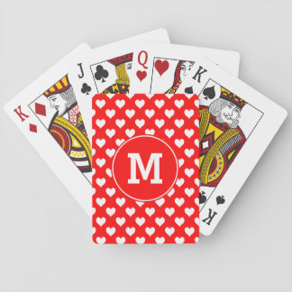Monogrammed Red and White Heart Pattern Playing Cards