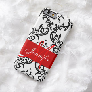 Monogrammed Red Black White Swirls Damask Barely There iPhone 6 Case