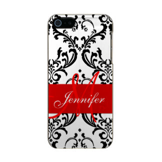 Monogrammed Red Black White Swirls Damask Incipio Feather® Shine iPhone 5 Case