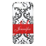 Monogrammed Red Black White Swirls Damask iPhone 7 Case