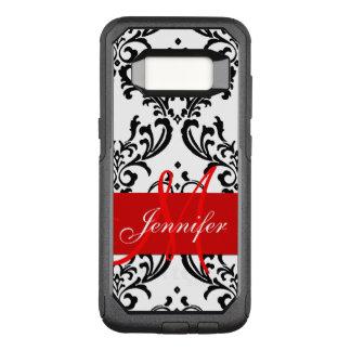 Monogrammed Red Black White Swirls Damask OtterBox Commuter Samsung Galaxy S8 Case