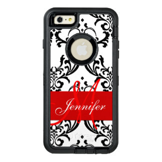 Monogrammed Red Black White Swirls Damask OtterBox Defender iPhone Case
