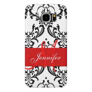 Monogrammed Red Black White Swirls Damask Samsung Galaxy S6 Cases