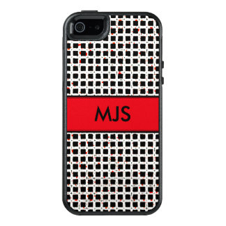 Monogrammed Red Black White Trendy Pattern OtterBox iPhone 5/5s/SE Case
