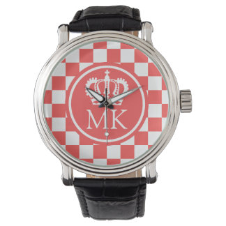 Monogrammed Red Checkered Big Boss Wristwatches