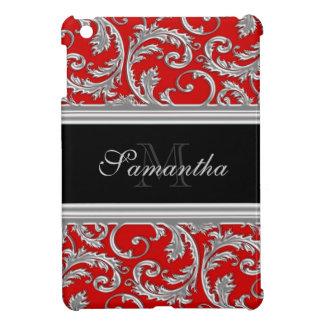 Monogrammed red elegant floral pattern iPad mini cover