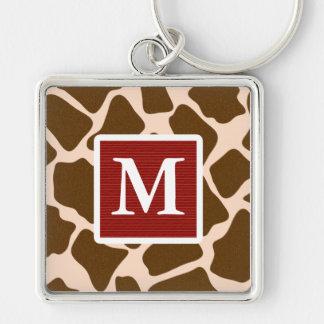 Monogrammed Red Giraffe Print Keychain