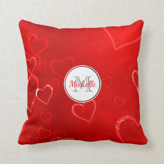 Monogrammed Red Hearts Pattern Cushion