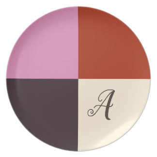 Monogrammed Red Pink Eggplant Ivory Plate