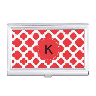 Monogrammed Red Quatrefoil Pattern Case For Business Cards