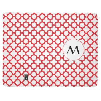 Monogrammed Red Quatrefoil Pattern Journal