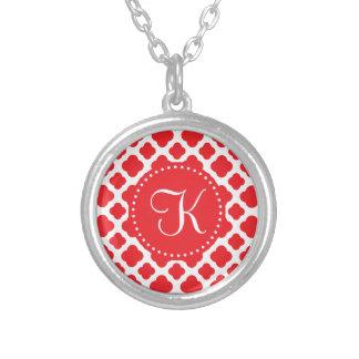 Monogrammed Red Quatrefoil Pattern Round Pendant Necklace