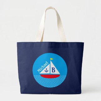 Monogrammed Red Sailboat Marine Nautical Blue Sea Bags