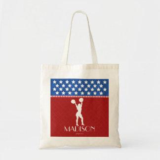 Monogrammed Red, White, Blue American Cheerleader Budget Tote Bag