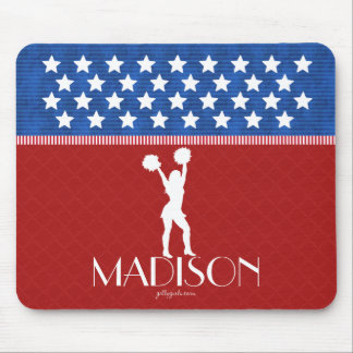 Monogrammed Red, White, Blue American Cheerleader Mouse Pad
