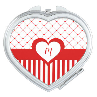 Monogrammed Red & White Stripes Heart Pattern Compact Mirror