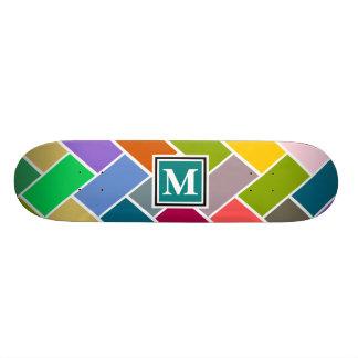 Monogrammed Repeating Brick Pattern 18.1 Cm Old School Skateboard Deck