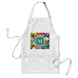 Monogrammed Repeating Brick Pattern Aprons