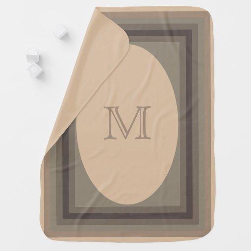 Monogrammed retro browns Baby Blanket
