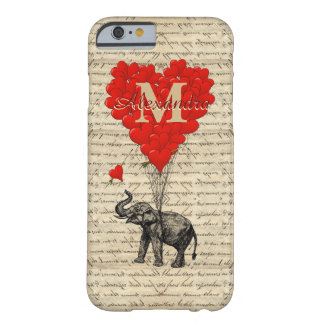 Monogrammed romantic elephant and heart barely there iPhone 6 case