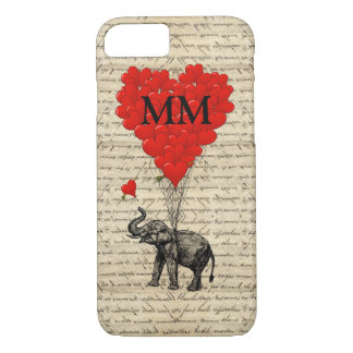 Monogrammed romantic elephant and heart iPhone 8/7 case