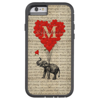 Monogrammed romantic elephant and heart tough xtreme iPhone 6 case