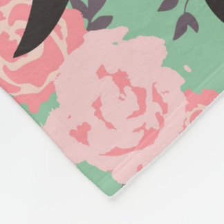 Monogrammed Rose Blanket on Mint